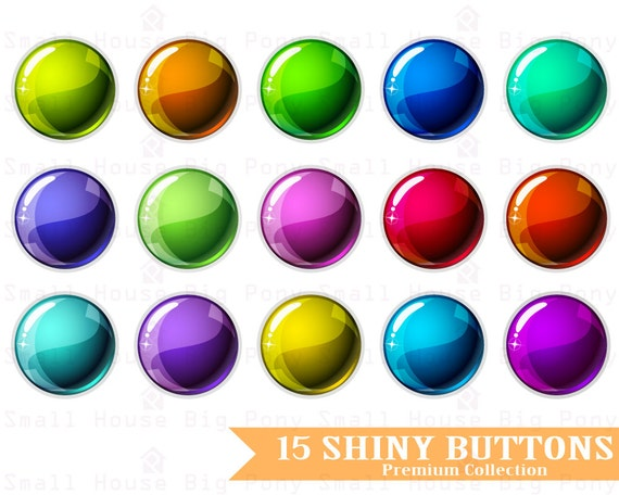 Shiny Buttons Clip art, Clipart - Instant download digital clip art - 1 JPG and 15 PNG files included in Zip
