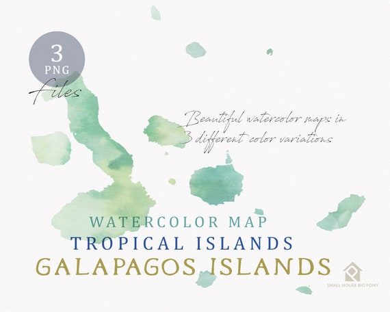 Galapagos Islands Map, Watercolor Map, Instant Download, Digital Map, Map Clipart, Wall Art, Color Map Clip Art, Custom Map, Watercolor Map