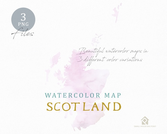 Scotland Map, Watercolor Map, Instant Download, Digital Map, Map Clipart, Wall Art, Color Map Clip Art, Custom Map, Watercolor Map