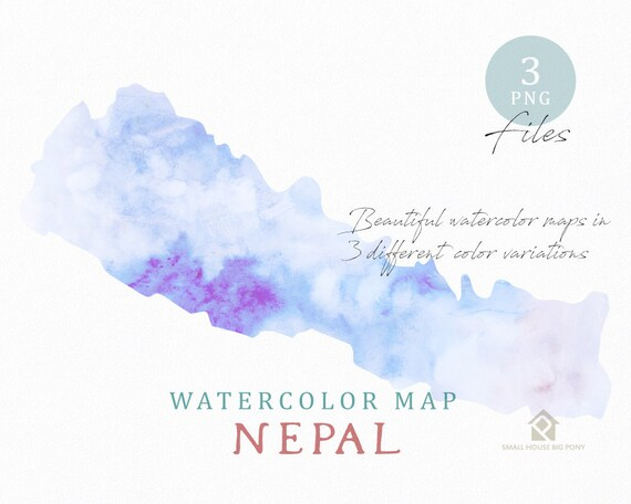 Nepal Map, Watercolor Map, Instant Download, Digital Map, Map Clipart, Wall Art, Color Map Clip Art, Custom Map, Watercolor Map