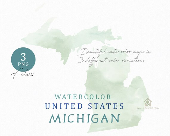 Michigan Map, Watercolor Map, Digital Map, Map Clipart, Wall Art, Color Map Clip Art, Custom Map, Watercolor Map