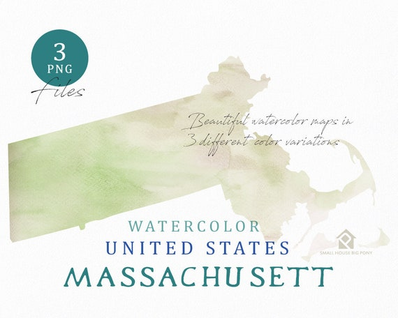 Massachusett Map, Watercolor Map, Digital Map, Map Clipart, Wall Art, Color Map Clip Art, Custom Map, Watercolor Map
