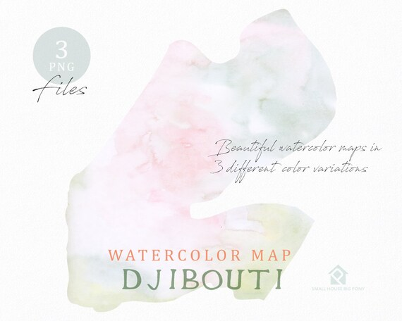 Djibouti Map, Watercolor Map, Instant Download, Digital Map, Map Clipart, Wall Art, Color Map Clip Art, Custom Map, Watercolor Map