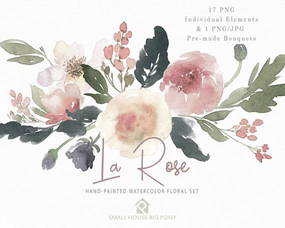 Watercolour Flower Clip Art Collection - Hand Painted Graphics,  hand drawn clip art,  flower clip art - La Rose Elements & 1 Bouquet