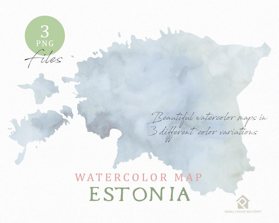 Estonia Map, Watercolor Map, Instant Download, Digital Map, Map Clipart, Wall Art, Color Map Clip Art, Custom Map, Watercolor Map