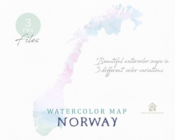 Norway Map, Watercolor Map, Instant Download, Digital Map, Map Clipart, Wall Art, Color Map Clip Art, Custom Map, Watercolor Map