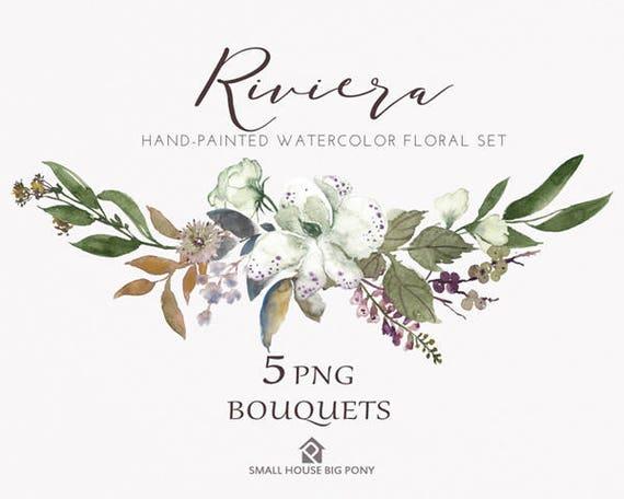 Watercolour Flower Clip Art Collection - Hand Painted Graphics,  hand drawn clip art,  flower clip art - Riviera Bouquet