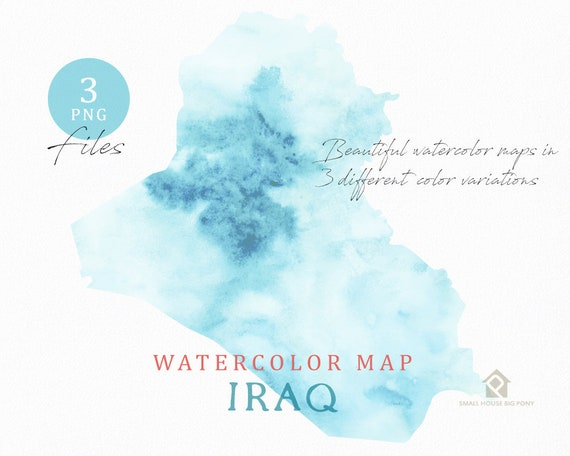 Iraq Map, Watercolor Map, Instant Download, Digital Map, Map Clipart, Wall Art, Color Map Clip Art, Custom Map, Watercolor Map
