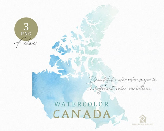 Canada Map, Watercolor Map, Instant Download, Digital Map, Map Clipart, Wall Art, Color Map Clip Art, Custom Map, Watercolor Map