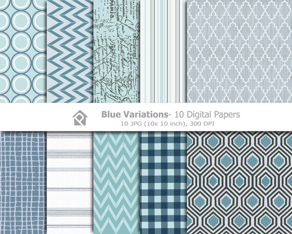 Clip art Blue, Clipart Digital Papers- Printable digital clip art - 10 JPG files