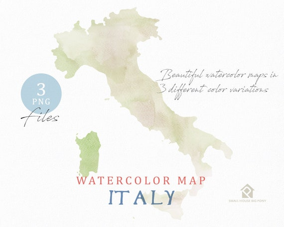 Italy Map, Watercolor Map, Instant Download, Digital Map, Map Clipart, Wall Art, Color Map Clip Art, Custom Map, Watercolor Map