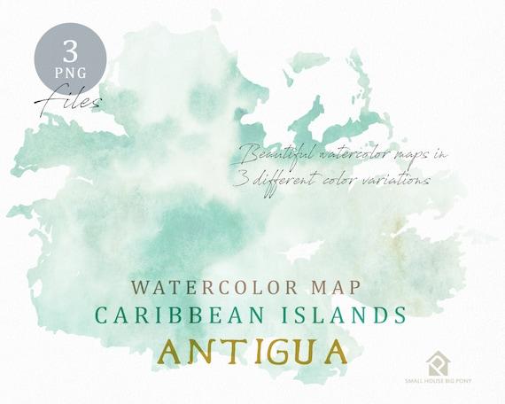 Antigua Map, Watercolor Map, Instant Download, Digital Map, Map Clipart, Wall Art, Color Map Clip Art, Custom Map, Watercolor Map