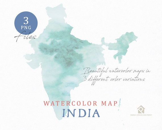 India Map, Watercolor Map, Instant Download, Digital Map, Map Clipart, Wall Art, Color Map Clip Art, Custom Map, Watercolor Map