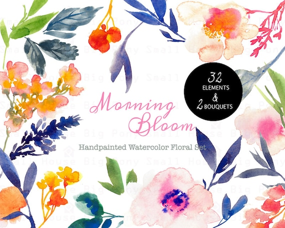 Digital Clipart- Watercolor Flower Clipart, peonies Clip art, Floral Bouquet Clipart, wedding flowers clip art- Morning Bloom