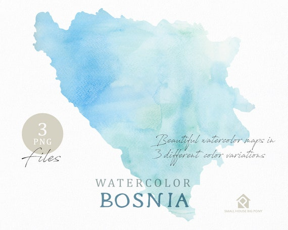 Bosnia Map, Watercolor Map, Instant Download, Digital Map, Map Clipart, Wall Art, Color Map Clip Art, Custom Map, Watercolor Map