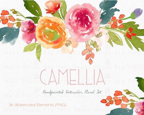 Watercolour Floral Clipart. Handmade, watercolour clipart, wedding diy elements, flowers - Camillia  Elements