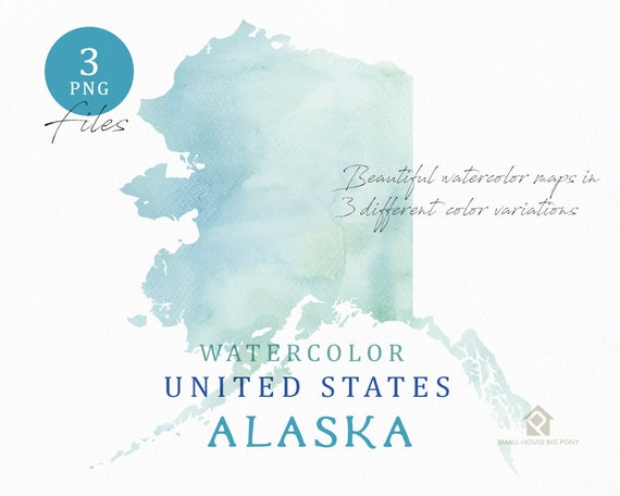 Alaska Map, Watercolor Map, Digital Map, Map Clipart, Wall Art, Color Map Clip Art, Custom Map, Watercolor Map