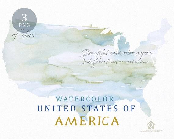 Watercolor USA Map, Instant Download, Digital Map, Map Clipart, Wall Art, Color Map Clip Art, Custom Map, Watercolor Map