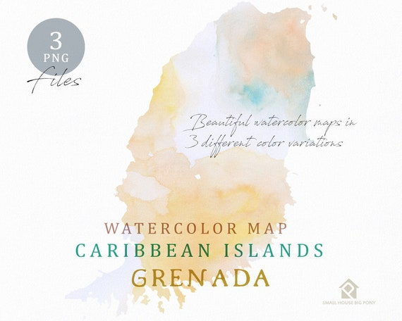 Grenada Map, Watercolor Map, Instant Download, Digital Map, Map Clipart, Wall Art, Color Map Clip Art, Custom Map, Watercolor Map