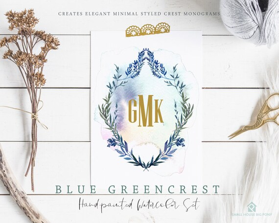 Blue Green Crest Clip Art. Green Laurel Crest and Leaves Clipart. Crest Frames and Borders for Wedding and Monograms- Blue Green Crest