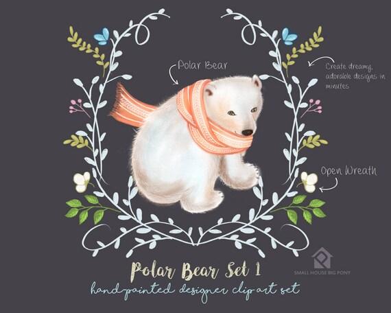 Digital Clipart- Watercolor Flower Clipart, polar bear Clip art, Floral Bouquet Clipart- Polar Bear Set 1