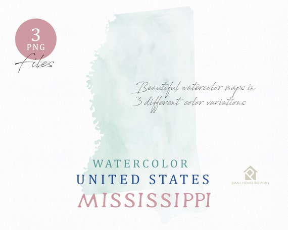 Mississippi Map, Watercolor Map, Digital Map, Map Clipart, Wall Art, Color Map Clip Art, Custom Map, Watercolor Map