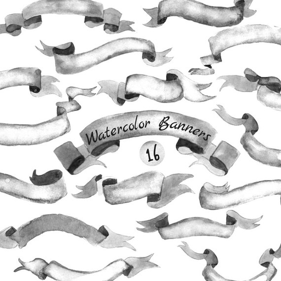 Commercial Use- Watercolor Banners, ribbons Clipart: 16 PNG Digital files. Black & White Banners. Hand painted, separate png, diy elements