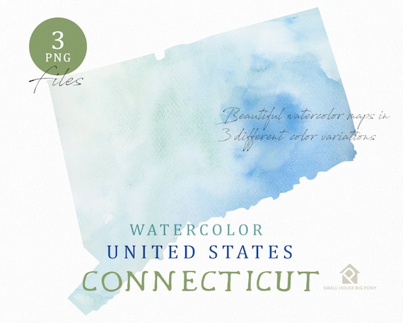 Connecticut Map, Watercolor Map, Digital Map, Map Clipart, Wall Art, Color Map Clip Art, Custom Map, Watercolor Map