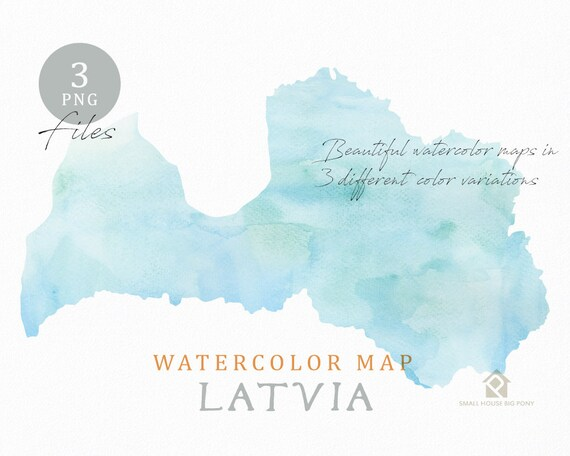 Latvia Map, Watercolor Map, Instant Download, Digital Map, Map Clipart, Wall Art, Color Map Clip Art, Custom Map, Watercolor Map