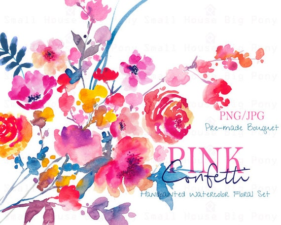 Digital Clipart- Watercolor Flower Clipart, peonies Clip art, Floral Bouquet Clipart, wedding flowers clip art- Pink Confetti Bouquet