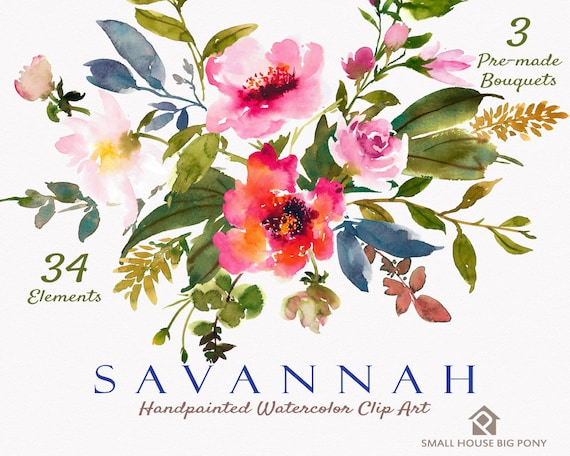Watercolour Flower Clip Art Collection - Hand Painted Graphics,  red flower,  hand drawn clip art,  flower clip art - Savannah Elements