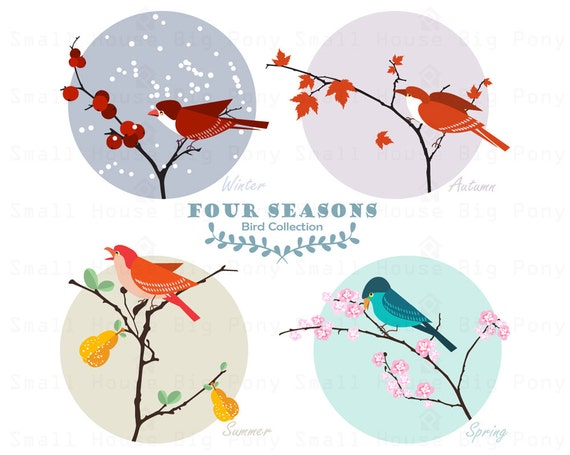Birds Clipart, 4 Seasons Clip art, Card Clipart, design clip art, beautiful Clip Art