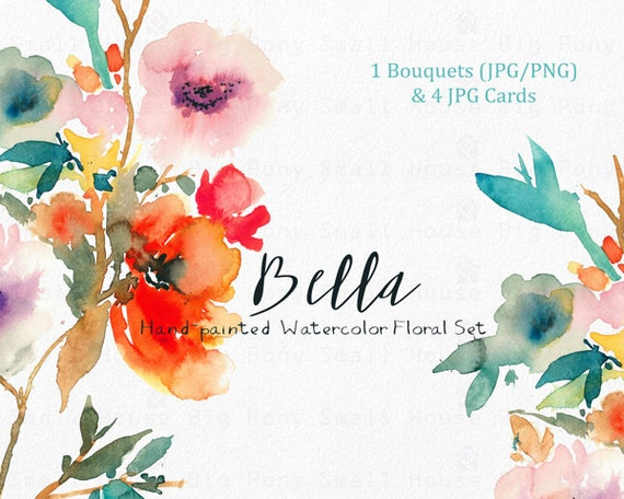 Digital Clipart- Watercolor Flower Clipart, peonies Clip art, Floral Bouquet Clipart, wedding flowers clip art- Bella