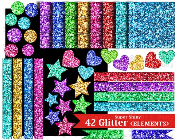 42 Rainbow Clip art, Clipart , Glitter Paper Pack Colorful Glitter Digital Paper Personal & Commercial Use INSTANT DOWNLOAD