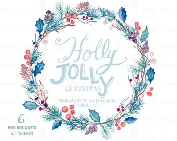 Watercolour Floral Clipart. Handmade, watercolour clipart, winter, flowers - Holly Jolly 6 Bouquets & 1 Wreath