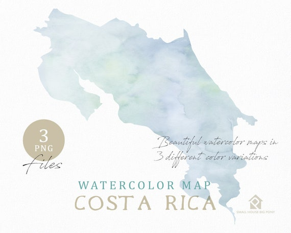 Costa Rica Map, Watercolor Map, Instant Download, Digital Map, Map Clipart, Wall Art, Color Map Clip Art, Custom Map, Watercolor Map