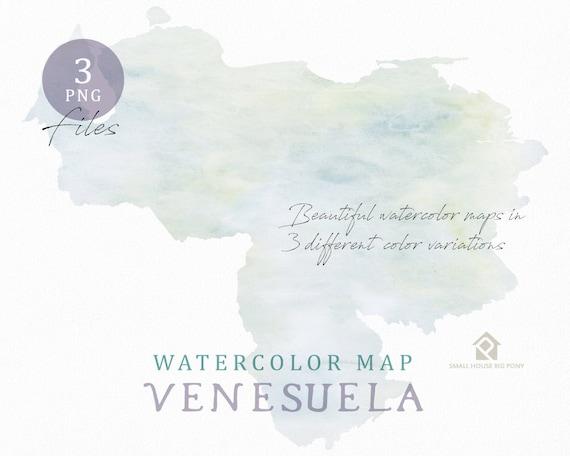 Venesuela Map, Watercolor Map, Digital Map, Map Clipart, Wall Art, Color Map Clip Art, Custom Map, Watercolor Map