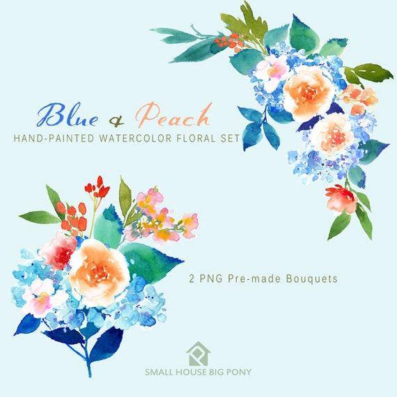 Watercolour Flower Clip Art Collection - Hand Painted Graphics, flowers, hand drawn clip art,  flower clip art - Blue & Peach (Elements)