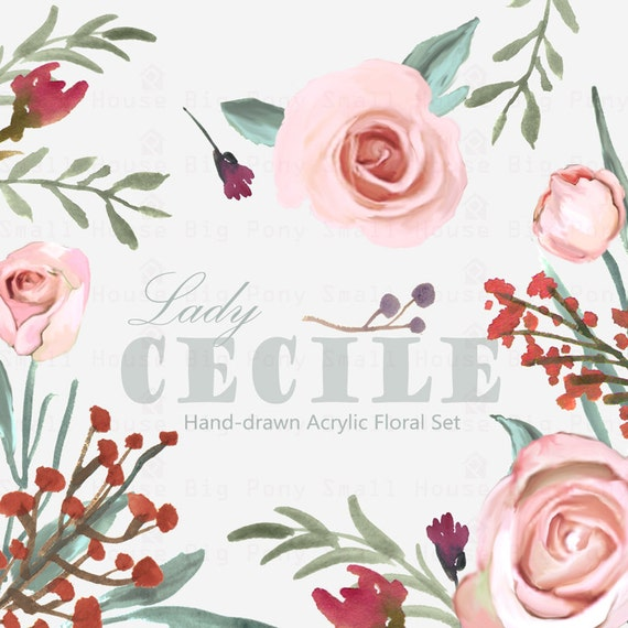 Watercolour Floral Clipart: Watercolour Clip Art/Rose/Individual PNG files/Hand Painted-Lady Cecile