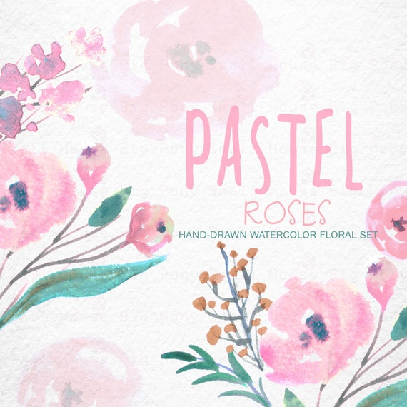 Watercolour Floral Clipart: Pastel Roses, Watercolour Clip Art/Rose/Individual PNG files/Hand Painted-pastel Roses