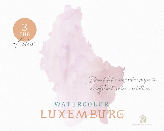 Luxemburg Map, Watercolor Map, Instant Download, Digital Map, Map Clipart, Wall Art, Color Map Clip Art, Custom Map, Watercolor Map
