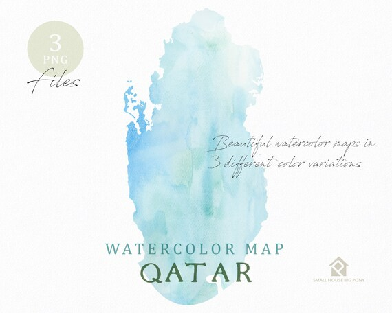 Qatar Map, Watercolor Map, Instant Download, Digital Map, Map Clipart, Wall Art, Color Map Clip Art, Custom Map, Watercolor Map