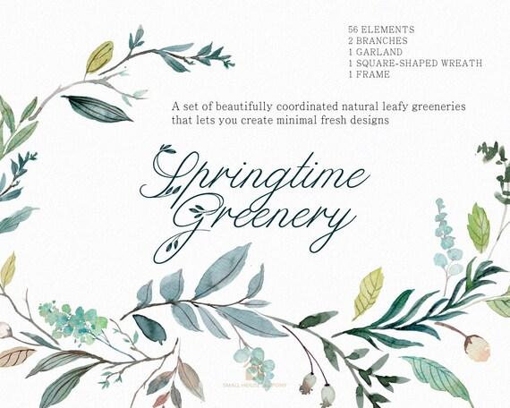Digital Clipart- Watercolor leaves  Clipart, wreath Clip art, leaf Clipart, wedding diy clip art- Springtime Greenery Set1