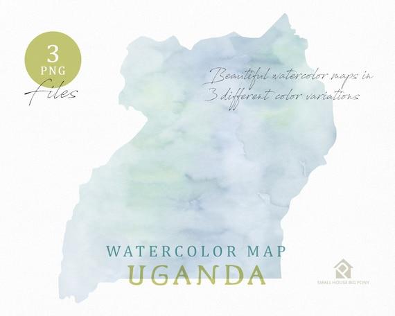 Uganda Map, Watercolor Map, Instant Download, Digital Map, Map Clipart, Wall Art, Color Map Clip Art, Custom Map, Watercolor Map