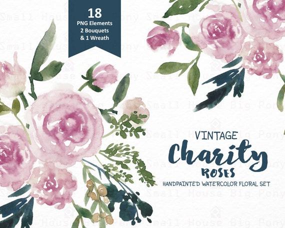 Digital Clipart- Watercolor Flower Clipart, vintage roses Clip art, Floral Bouquet Clipart, wedding flowers clip art- Vintage Charity Roses