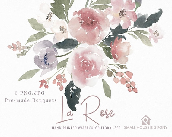 Watercolour Flower Clip Art Collection - Hand Painted Graphics,  red flower,  hand drawn clip art,  flower clip art - La Rose Bouquets