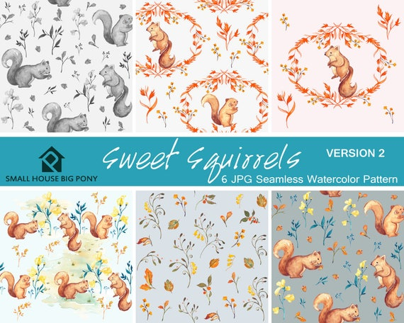 Watercolour Flower Clip Art Collection, Nursery Decor, Kid's invites - Hand Painted- Sweet Squirrels Seamless Floral Pattern Version 2