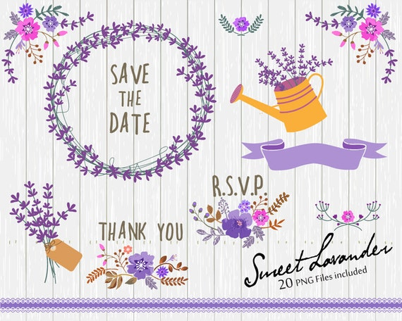 Flower Clipart, Wedding floral Clip art, Floral Bouquet Clipart, Lavander flowers clip art, Lavander Clip Art- 20 PNG file included