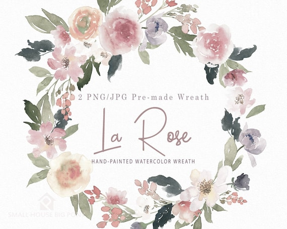 Watercolour Flower Clip Art -  Handmade, watercolour clipart, digital download, instant download - La Rose Wreath
