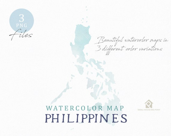 Philippines Map, Watercolor Map, Instant Download, Digital Map, Map Clipart, Wall Art, Color Map Clip Art, Custom Map, Watercolor Map
